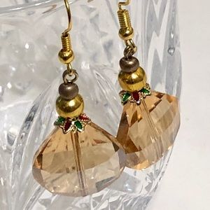 Golden Champagne Crystal HOLIDAY Earrings
